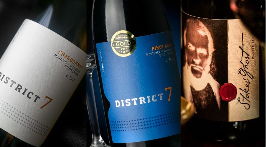 de 3 vinerna för kvällen: District 7 Pinot Noir, District 7 Chardonnay och Stokes' Ghost Petit Sirah